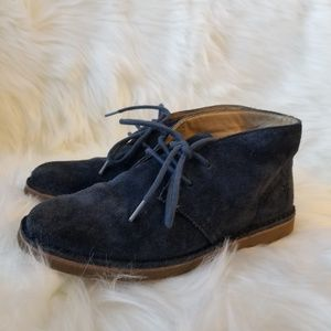 FRYE Lace Navy Blue Suede Shoes Youth 1